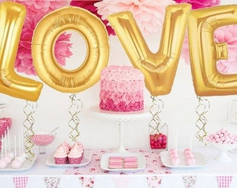"""40"""" XL Giant Gold Foil """"LOVE"""" Balloons // Wedding, Birthday Letter Balloons // Extra Large"""