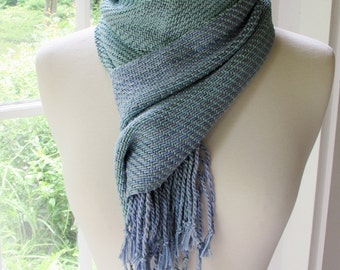 Blue green silk scarf