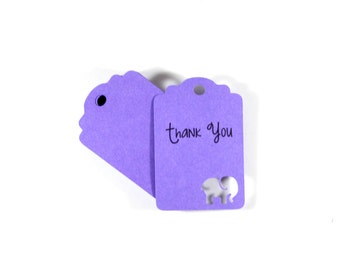 Purple Elephant Baby Shower Tags Set of 20, Personalized Shower Favors,Thank You Tags, Elephant Shower Gift Tags, Purple Shower Favor Tags