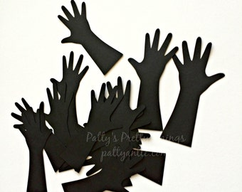 Hand Die Cuts, Hand Confetti, Silhouette Hands, Arm Die Cuts, Hand Shapes, Paper Hands, Hand Cut Out