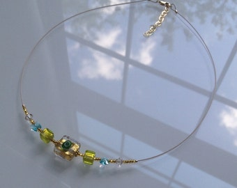 "Murano Glass Jewelry ""Millefiori Gold"" Necklace.  Italian Jewelry.  Venetian Glass Necklace."