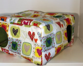 Guinea Pig Cuddle Cube, Extra Durable Ferret House, Reinforced Hedgehog Hidey - Hearts with Green Fleece