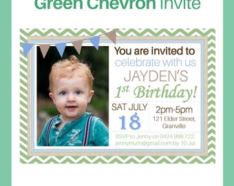 Green Chevron Digital Printable Invitation - Perfect for baby boy's 1st birthday - Instant Digital Download