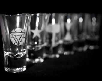 Avengers themed Shot glass. Bespoke engraving.