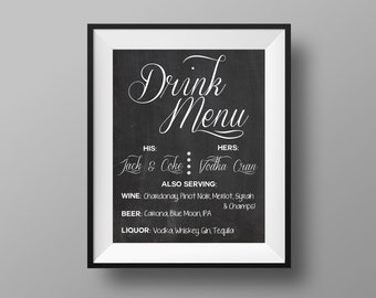 Drink Menu   Wedding Bar Sign   Bar Sign   Wedding Bar   His and Her Drinks   Wedding Bar Menu   Bar Print   11x14 Digital Download