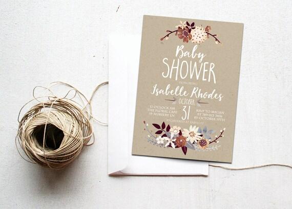 summer baby shower invitation printable floral invite boho, Baby shower invitations