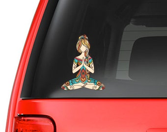 Yoga Girl Art Design Full Color - Vinyl Decal for Car, Macbook, or Other Laptop (Many sizes available)