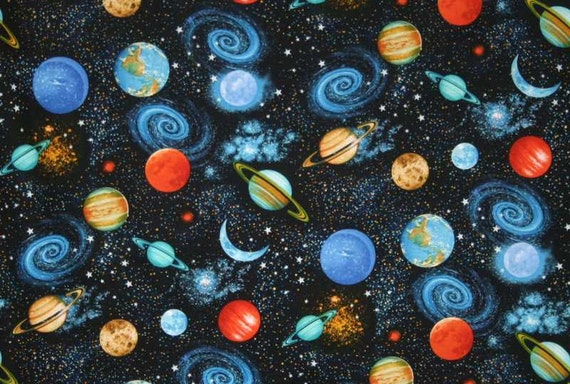 Outer space fabric planets solar system stars galaxy for Outer space fabric by the yard
