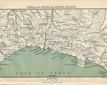 1905 Genoa Italy, Italian Riviera Antique Map
