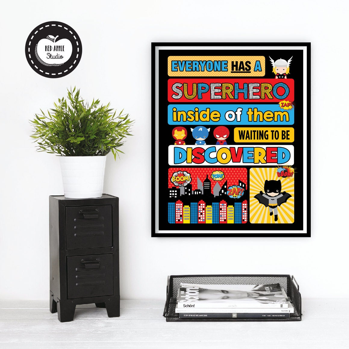 superhero wall art superhero wall decor the by redapplestudio. Black Bedroom Furniture Sets. Home Design Ideas