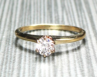 Vintage 14k Gold Diamond Ring Old Mine Cut Diamond Engagement Ring Yellow Gold Solitaire Vintage Diamond Engagement Approx 1/3 CT Victorian