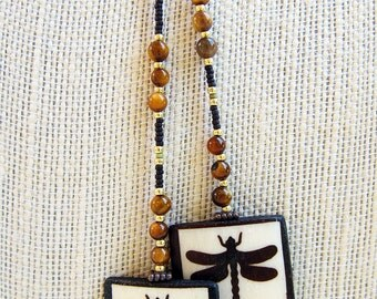 Dragonfly Transformation Lariat Necklace
