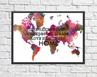 World Map, World Map Print, Large World Map, World Map Poster, Colourful World Map
