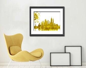 New York Skyline, NYC Cityscape Art Print, Blue New york Cityscape. Watercolor Cityscape