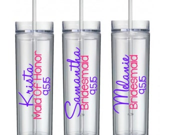 3 Bridal Party Tumblers, Personalized Skinny Bridal Tumblers, Brides Entourage Tumbler, Personalized Bridesmaid Gift, Set of 3