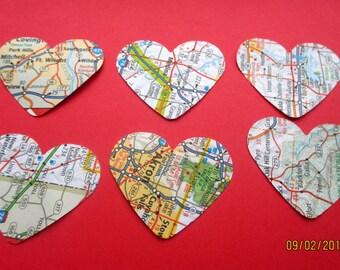 700-Heart Map confetti-Atlas Heart die cuts-punched map paper-bridal shower decor-Travel theme wedding decorations-destination wedding decor