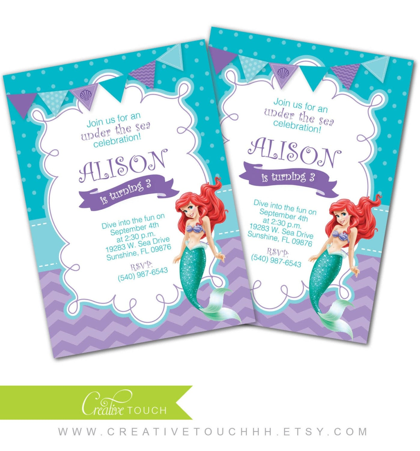 Ariel Party Invitations With The Name Sana