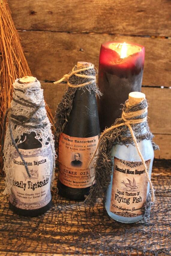 "Halloween Potion Bottle Set, ""Deadly Nightshade"" ~ ""Madame Sanderson's Snake Oil"" ~ ""Tincture of Flying Fish"", Handmade Halloween Decoration"