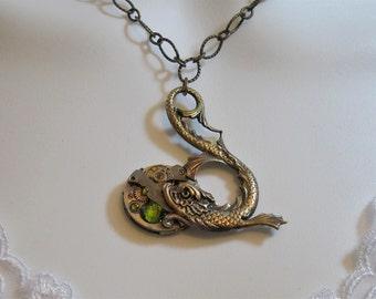 Steampunk necklace, Koi Necklace,  Vintage watch necklace, Crystal,