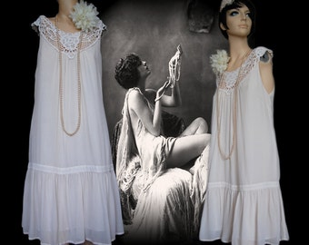 Great Gatsby flapper charleston Downton Abbey 1920's 1930's silk beach bride wedding vintage dress white crochet lace size UK 12 US 8