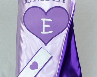 SWEETHEART Cape-Light Purple & Purple/Youth and Toddler Cape Sizes/Accessories Available/Girl Cape/Personalized Costume/Machine Washable