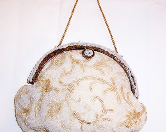 "1950's ""Jolies Original"" Hand-Crafted White Beaded Purse/Handbag"