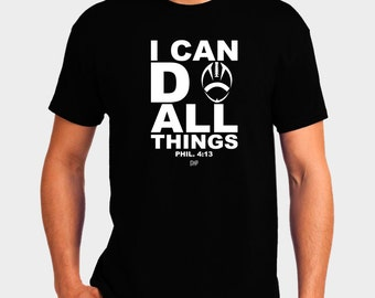I Can Do All Things Football T-Shirt Bible Verse Scripture Philippians 4:13 Christian T-Shirt - Christian Apparel - Religious Shirt