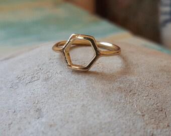 Hexagon Geometric Ring Size 6.5 Gold Fine Metal Micro Jewelry Delicate