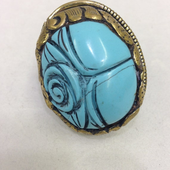 Rings Tibetan Turquoise Blue Carved Flower  Embellished Brass Ring Handmade Jewelry Unique Statement