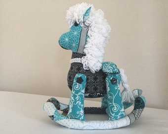 Stuffed Rocking Horse - Teal and Black