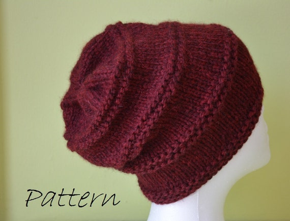 Chunky Ladies Hat Knitting Patterns Free : Items similar to Chunky Knit Hat Knitting Pattern / Womens Slouchy Knit ...