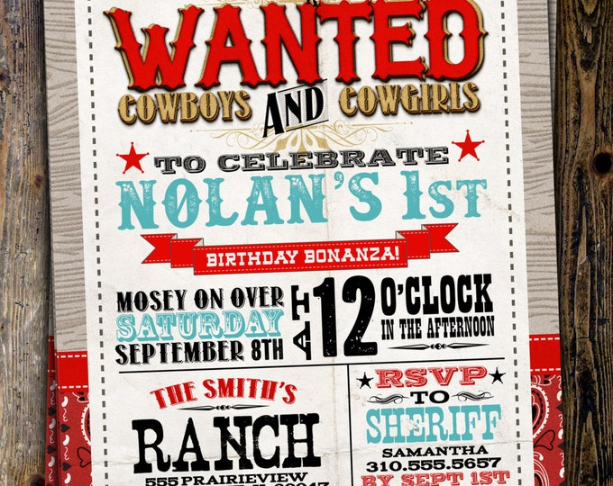 Vintage Cowboy Invitation, boy birthday, cowgirl, rodeo, western invitation, retro, wanted poster, rodeo poster, cowgirl, horse