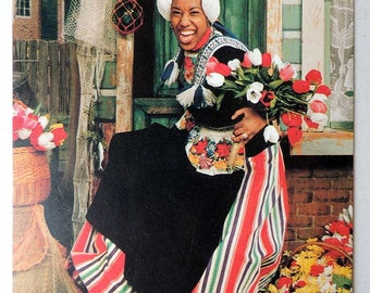 Dutch Girl with Folk Costume and Tulips  Postcard