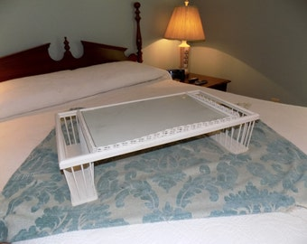 Vintage Breakfast in Bed Tray, Bed Tray, Wicker Trim Wood Tray, Glass Top Bed Tray