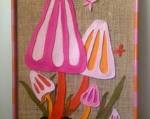 Handmade Vintage Decor Cute Groovy Mushrooms Butterflies Framed Wall Hanging