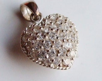 Vintage 925 Sterling Silver Cubic Zirconia Puffy Heart Double Sided Pendant