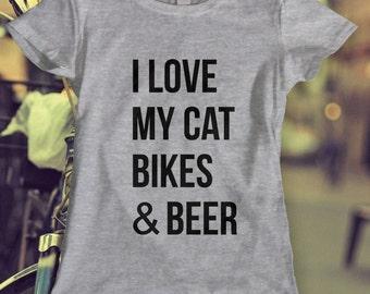 Cat Bikes Beer Tshirt, Mens, Women's Clothing, Men's Clothing, Womens, Ladies, Guys, Youth, Kids.