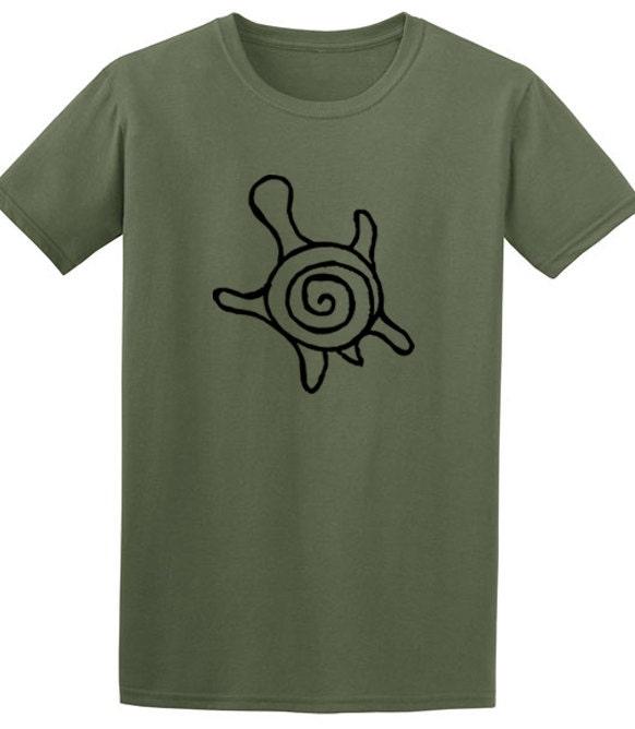 Mens Tshirt Green Turtle Print Mens Gifts Animal T Shirt