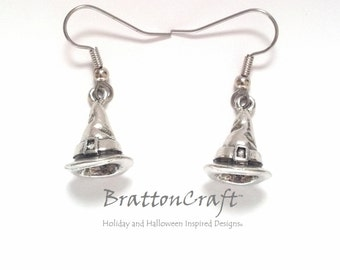 Silver Witches Hat Earrings - Witch Hat Earrings - Wizard Hat Earrings - Fun Halloween Earrings - Samhain - Epsteam
