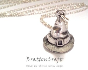 Silver Witches Hat Necklace - Witch Hat Necklace - Wizard Hat Necklace - Witch Necklace - Fun Halloween Necklace - Samhain - Epsteam