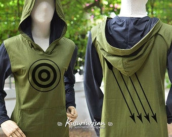 Arrow  Olive green t shirt hoodie with black long sleeves