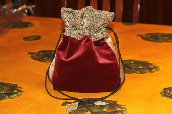 JUST REDUCED! Luxurious red and gold Velvet Cinch Bag - Great for evening wear and holidays!