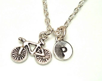 Personalized Hand Stamped Bike Necklace, Bicycle charm necklace, Sports Jewelry, Bike Team, Cycling necklace,biker jewelry, custom necklace