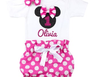 Minnie Mouse Birthday Outfit, Girls Birthday High Waisted Bloomers Outfit | Minnie Mouse Birthday Outfit