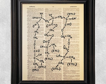 ETC Molecule, Kurt Vonnegut, Dictionary Art Print, Vintage, Antique Book Art, Recycled/Upcycled, Old Book Page, 8 x 10 Print (#176)