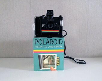 Vintage Polaroïd Instant 10 Land Camera + original box + 1 flash cube Sylvania