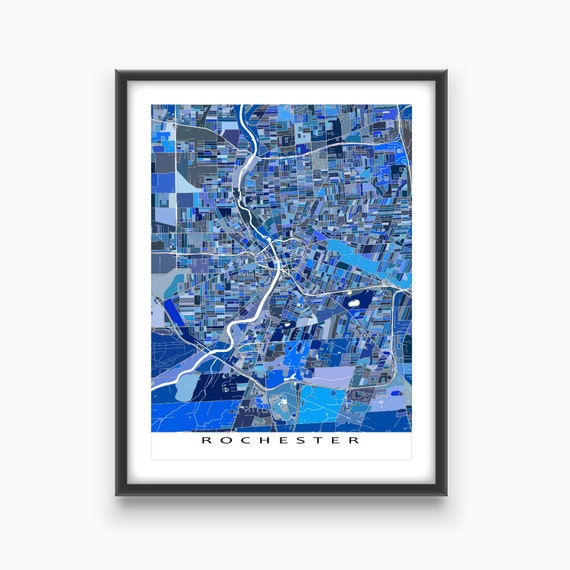 Rochester NY Map Rochester Map Art Prints New York By