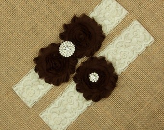 Brown Wedding Garter, Brown Garter Set, Wedding Garter Set, Lace Bridal Garter, Brown Garter Belt, Toss Garter, Keepsake Garter, SCIS-N04