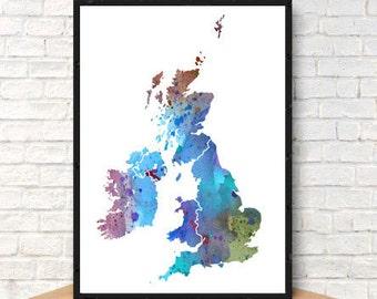 UK United Kingdom No. 5 Print Watercolor Map, Home Decor Watercolor UK Poster, Watercolor UK Painting, Handmade Poster Map Art, Map Poster