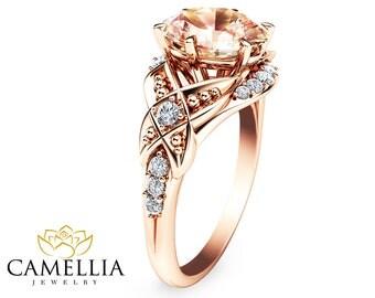 14K Rose Gold Engagement Ring Oval Morganite Ring Oval Cut Morganite Engagement Ring Unique Engagement Ring